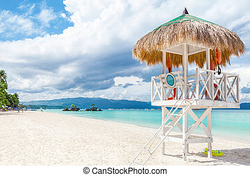 Pristine waters and white sand in Boracay, Philippines