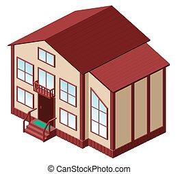 privé, maison, grand, blanc, 3d, family., pays, isométrique, isolé