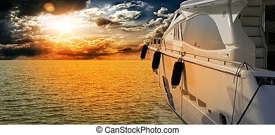 privé, moteur, yacht, à, incroyable, sunset.sailboat, bateau...