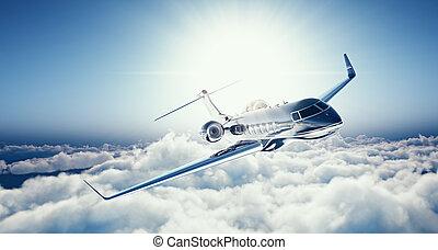 privé, nuages, conception, blanc, horizontal., 3d, bleu, ...