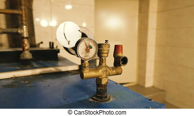 privé, room., chauffage, chaudière, capteur, température, maison