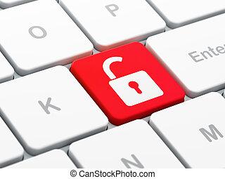 privacidade, concept:, aberta, padlock, ligado, teclado computador, fundo