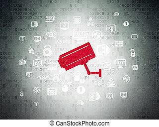 privacidade, concept:, câmera cctv, ligado, digital, dados, papel, fundo