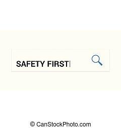 privacidade, concept:, magnificar, óptico, vidro, com, palavras, segurança primeiro
