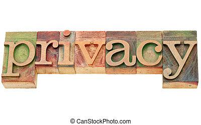 privacidade, palavra, em, letterpress, tipo