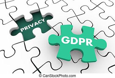 privacidade, regras, quebra-cabeça, conformidade, ilustração, regulamentos, gdpr, 3d