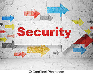 Privacy concept: arrow whis Security on grunge wall background