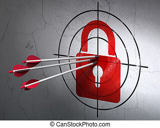 Success privacy concept: arrows hitting the center of Red Closed Padlock target on wall background, 3d render