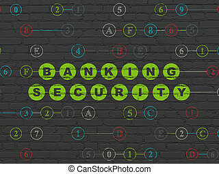 Privacy concept: Banking Security on wall background