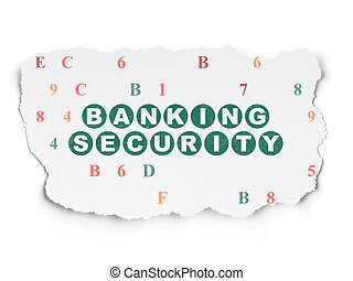 Privacy concept: Banking Security on Torn Paper background