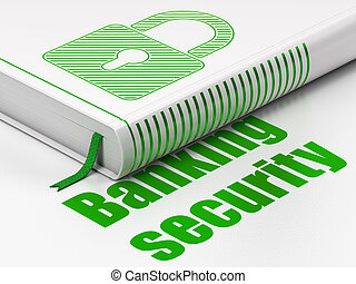 Privacy concept: book Closed Padlock, Banking Security on white background