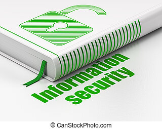 Privacy concept: book Opened Padlock, Information Security on white background