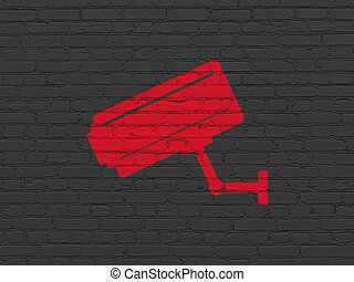 Privacy concept: Cctv Camera on wall background