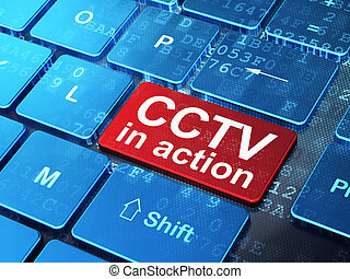 Privacy concept: CCTV In action on computer keyboard background