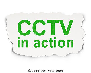 Privacy concept: CCTV In action on Paper background