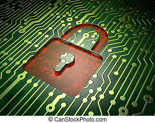 Privacy concept: circuit board with Closed Padlock icon