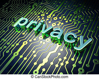 privacy, concept:, circuit plank, met, woord, privacy