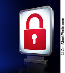 Privacy concept: Closed Padlock on billboard background