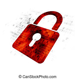 Privacy concept: Closed Padlock on Digital background