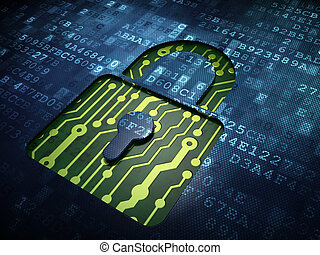 Privacy concept: Closed Padlock on digital screen background...
