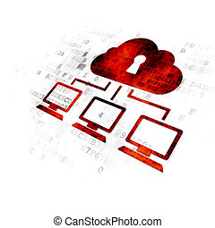 Privacy concept: Cloud Network on Digital background