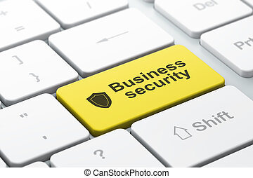 Privacy concept: computer keyboard with Shield icon and word Business Security, selected focus on enter button, 3d render