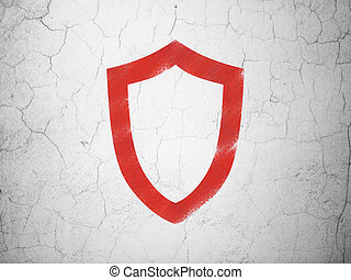 Privacy concept: Contoured Shield on wall background