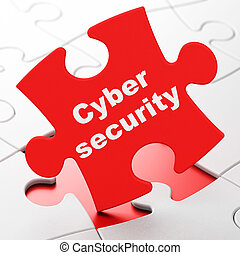Privacy concept: Cyber Security on puzzle background -...