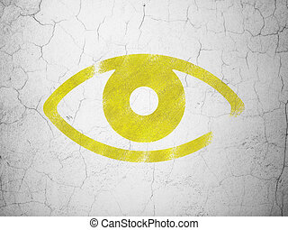 Privacy concept: Eye on wall background - Privacy concept:...