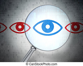 Privacy concept: Eye with optical glass on digital...
