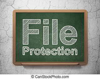 Privacy concept: File Protection on chalkboard background