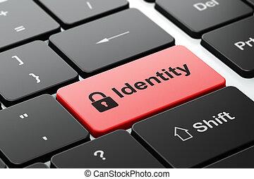 privacy, concept:, gesloten, hangslot, en, identiteit, op,...