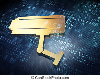 Privacy concept: Golden Cctv Camera on digital background