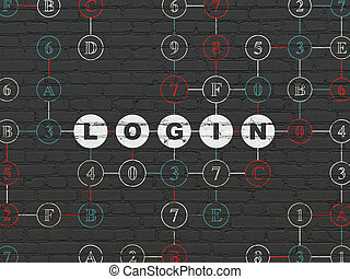 Privacy concept: Login on wall background