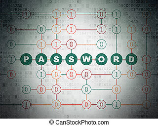 Privacy concept: Password on Digital Data Paper background