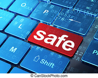 Privacy concept: Safe on computer keyboard background