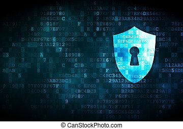 privacy, concept:, schild, met, keyhole, op, digitale...