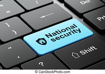 Privacy concept: Shield and National Security on computer keyboard background