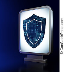 Privacy concept: Shield on billboard background
