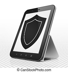 Privacy concept: Tablet Computer with Shield on display