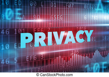 Privacy concept with blue background blue texts