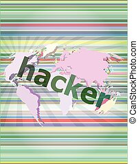 Privacy concept: words Hacker on digital background vector illustration
