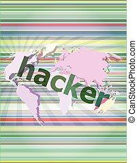 Privacy concept: words Hacker on digital background vector illustration