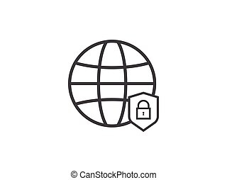 Privacy Data protection and Internet VPN shield Security Concept line icon vector