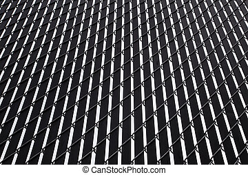 Privacy Fence - Abstract design of light and dark lines...