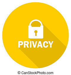 privacy flat design yellow web icon