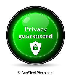 Privacy guaranteed icon. Internet button on white...