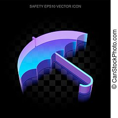 Privacy icon: 3d neon glowing Umbrella made of glass, EPS 10 vector.