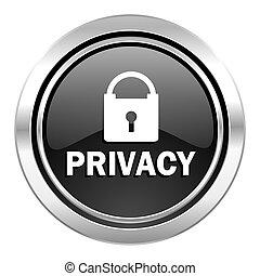 privacy icon, black chrome button