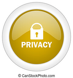 privacy icon, golden round glossy button, web and mobile app design illustration
